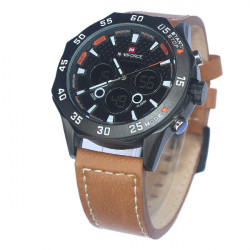 Naviforce 9043 Leather Band Alarm Analog Digital Watch
