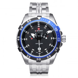 Naviforce NF9029 Silver Stainless Steel Week Date Men Wrist Watch