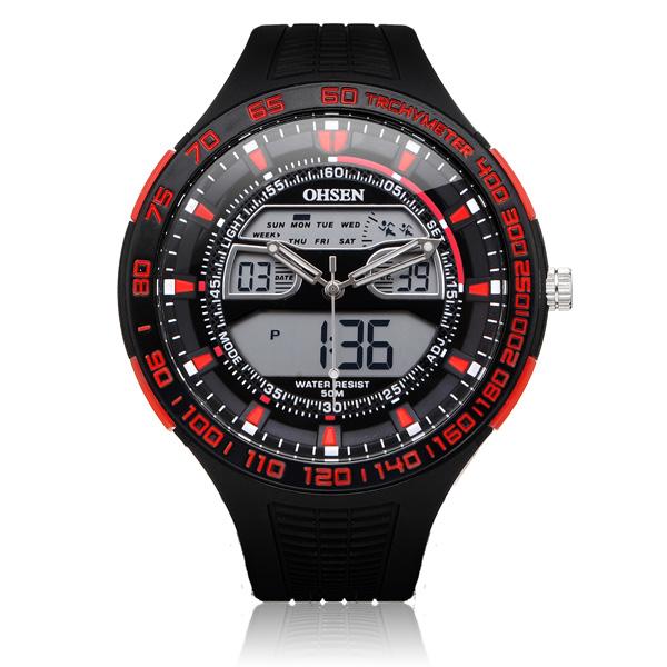 OHSEN AD2803 Sport Svart Militär Datum Vecka Herr Wrist Quartz Klocka Klockor
