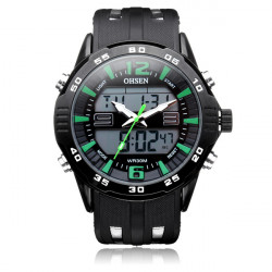 OHSEN AD2813 Sport große Zifferblatt Hintergrundbeleuchtung Datum Männer Quarz Armbanduhr