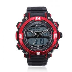 OHSEN Round Fashion Silicone Dual Display Quartz Wrist Watch