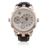 OULM Männer große Zifferblatt Runde Leder Mode Armbanduhr Uhren