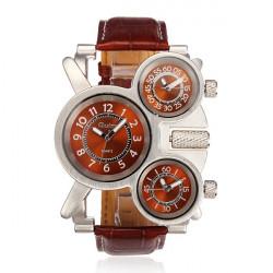OULM Men Leather Irregular Multi Dial Individual Quartz Fashion Watch
