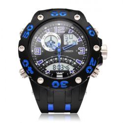 Ohsen AD2801 Rubber Black Blue Sport Round Men Quartz Wrist Watch