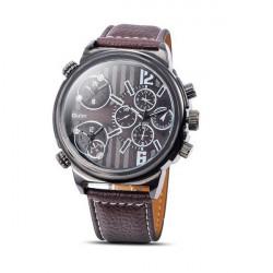 Oulm 3299 3 Zeitzonen PU Leder Band Sport Uhr