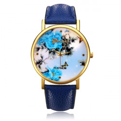 PLATINUM PU Leather Flower Butterfly Round Women Gold Wrist Watch