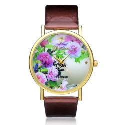 PLATINUM PU Leather Flower Round Women Quartz Wrist Watch