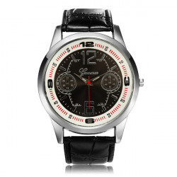 PU Leather Big Dial Number Round Men Quartz Wrist Watch