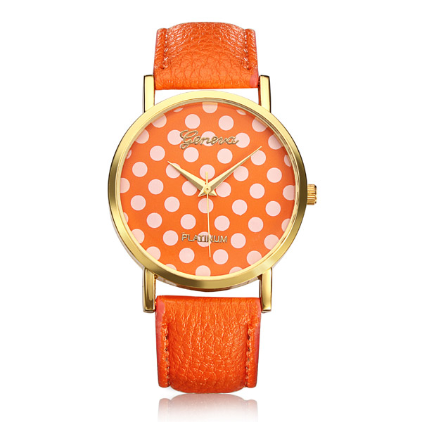 PU Leather Dots Spot Round Women Gold Wrist Watch Watch