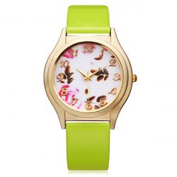 PU Leather Gold Flower Number Round Women Wrist Watch