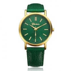PU Leather Gold Round Women Quartz Wrist Watch