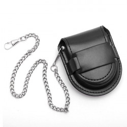 PU Leather Pocket Watch Box Holder Storage Case Purse Pouch Bag Chain