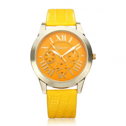 PU Leather Roman Number 3 Dial Round Women Gold Wrist Watch