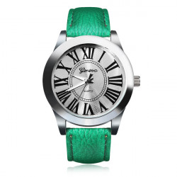 PU Leather Roman Number Silver Round Women Wrist Watch