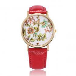 PU Leather Round Flower Gold Women Big Dial Wrist Watch