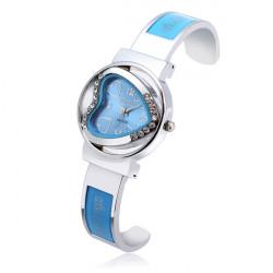 Pfirsich Herz Rhinestone Edelstahl Armband Uhr