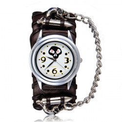 Punkgewehrkugel Schädel Kette Leder analoge Armband Frauen Uhr