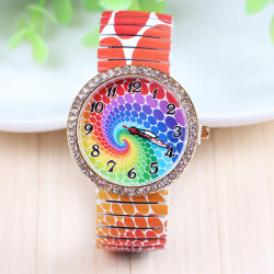 Rainbow Pattern Printed Elastic Stainless Steel Band Watch