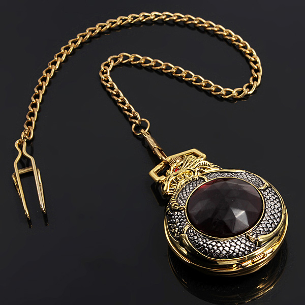 Retro  elegante Bronzedrache Alloy Quartz Kette Taschenuhr Uhren