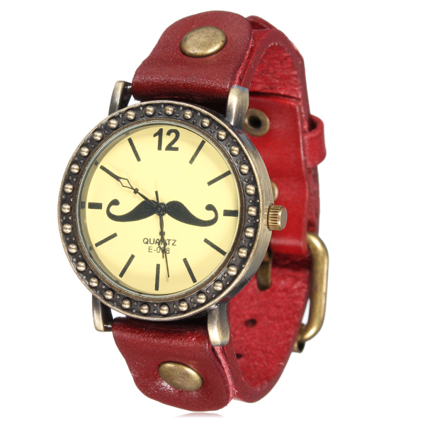 Retro Mustasch Skägg Läder Wrap Quartz Klocka Armbandsur Klockor