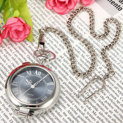 Retro Silver Magnifier Roman Numerals Quartz Women Pocket Watch