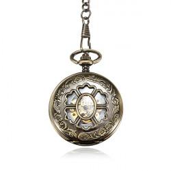 Retro Weinlese Ketten Höhle Blumen DAD Bronze mechanische Taschen Uhr