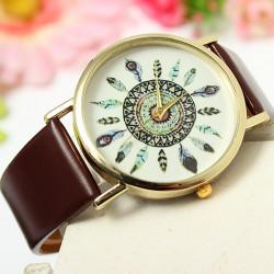 Retro Dam Vintagepåfågelfjäder Läder Quartz Armbandsur