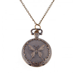 Retro style Butterfly Quartz Pocket Watch Necklace for Gift