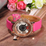 Rhinestone Dynamic Flower Dial Leather Women Quartz Wrist Watch Watch