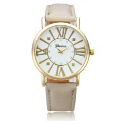 Roman Number Rhinestone PU Leather Band Wrist Watch