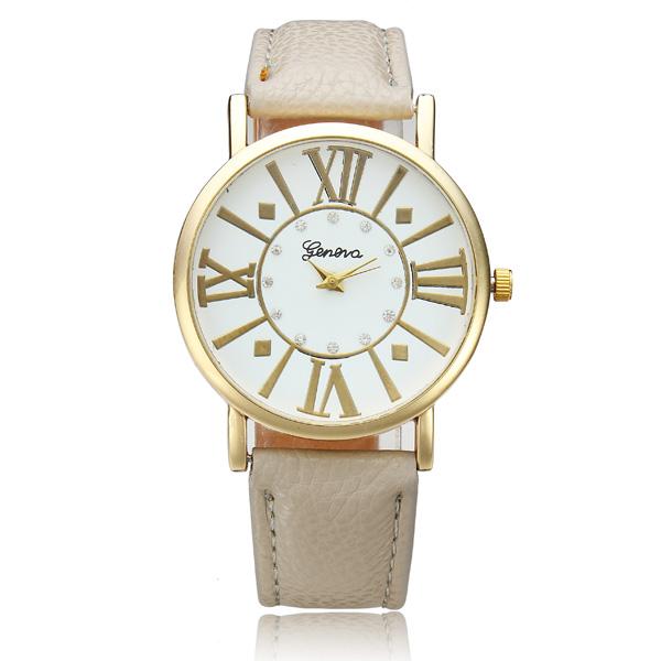 Roman Number Rhinestone PU Leather Band Wrist Watch Watch