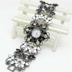SB008 Fashion Women Skeleton Flower Bracelet  Quartz Watch