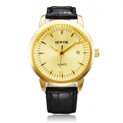 SEWOR  Black White Gold 3 Colors PU Band Mechanical Watch