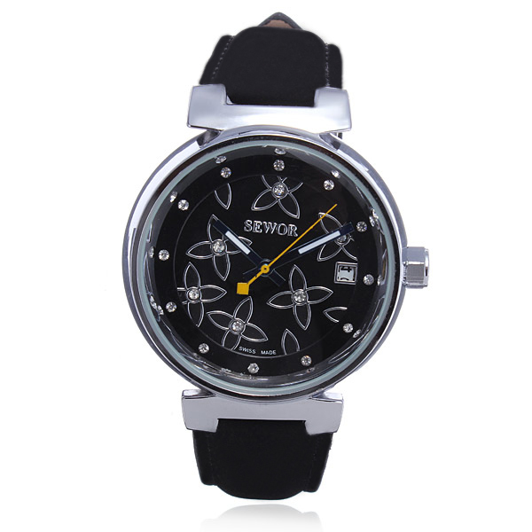 SEWOR Flower Nubuck Leather Automatic Mechanical Women Wrist Watch Watch
