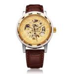 SEWOR Golden Case Mechanical Leather Skeleton Men Wrist Watch Watch