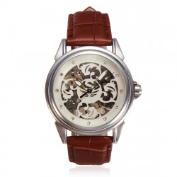 SEWOR mechanische lederne Skeleton Armbanduhr