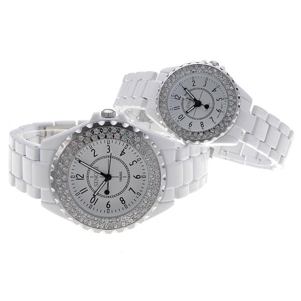 Sinobi Diamond Crystal Lovers Quartz Par Armbandsur Vit Klockor
