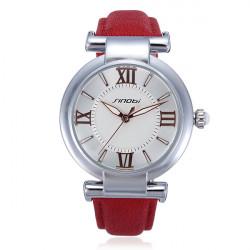 SINOBI Leather Red Analog Quartz Women Bracelet Wrist Watch