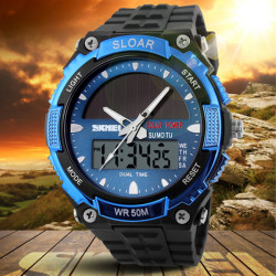 SKMEI 1049 Solar Power Dual Time wasserdichte LED analog digitale Uhr