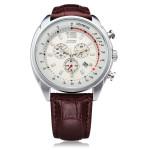 SKMEI 6852 Black White PU Leather Date Number Men Wrist Quartz Watch Watch