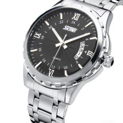 SKMEI 9069 Stainless Steel Roman White Black Dial Men Wrist Watch