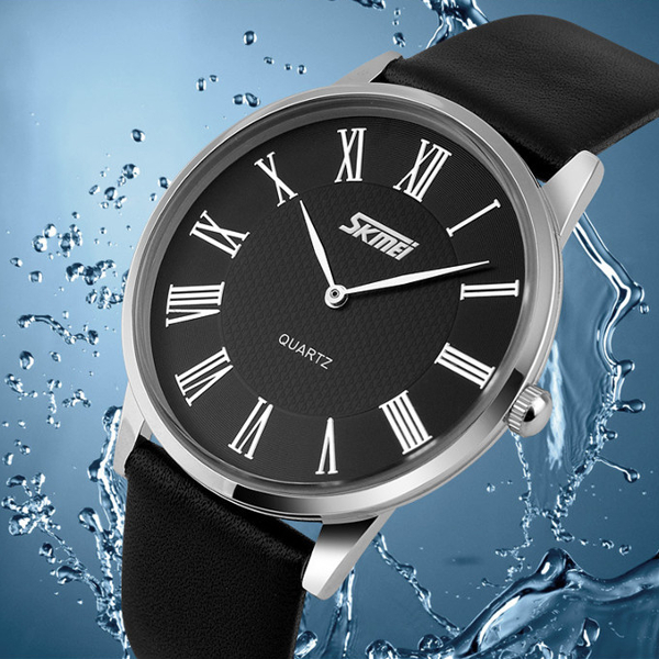 SKMEI 9092 Leater Band Ultra-thin Dial Waterproof Quartz Watch Watch