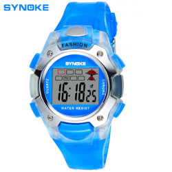SYNOKE Fashion Children Waterproof Sport PU Digital Wristwatch