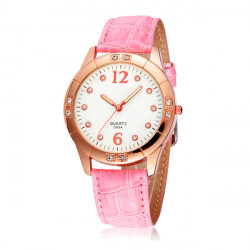 SYNOKE Women Fashion Casual Crystal Scale Leather Quartz Watch