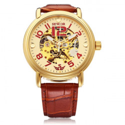 Sewor Automatic Number Brown PU Leather Mechanical Men Wrist Watch