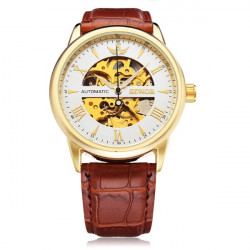 Sewor Automatic Romen Brown PU Leather Mechanical Men Wrist Watch
