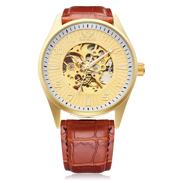 Sewor Big Dial Number Brown PU Leather Mechanical Men Wrist Watch Watch