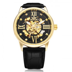 Sewor große Zifferblatt Romen schwarz PU Leder mechanische Mann Armbanduhr