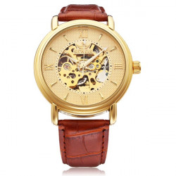 Sewor Big Dial Romen Brown PU Leather Mechanical Men Wrist Watch