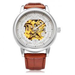Sewor Stor Urtavla Romerska Siffror Brun PU Läder Mekanisk Herr Armbandsur Klocka